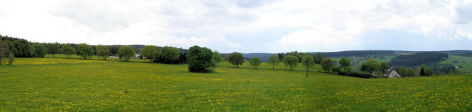 Panoramic of the Erzgebirge in spring Stock Images