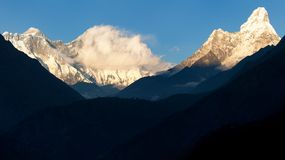 Panoramic evening view of Ama Dablam, Mount Everest and Lhotse Royalty Free Stock Image