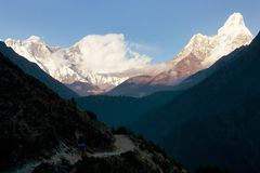 Panoramic evening view of Ama Dablam, Mount Everest and Lhotse - Nepal Royalty Free Stock Images