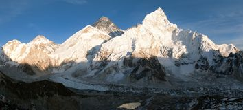 Panoramic evening view of Mount Everest from Kala Patthar stock image