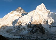 Panoramic evening view of Mount Everest from Kala Patthar Stock Images