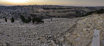 Panoramic evening view of the old city Jerusalem stock photography