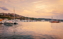 Panoramic evening view of the seaport at sunset. In sozopol, bulgaria Stock Photo