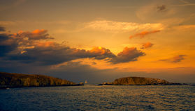 Panoramic evening view of two islands at sunset. With dramatic clouds in sozopol, bulgaria Royalty Free Stock Images