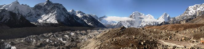 Panoramic Everest landscape Royalty Free Stock Photo
