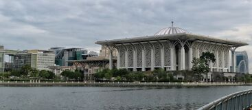 Panoramic everning view of Sultan Zainal Abidin Mosque, the famous mosque in Putrajaya