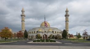 Islamic Center of America. Panoramic of the exterior of the Islamic Center of America on Ford Road in Dearborn, Michigan Royalty Free Stock Photo