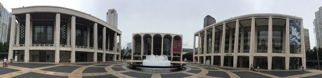 PANORAMIC EXTERIOR LINCOLN CENTER FOR PERFORMING ARTS NYC royalty free stock image