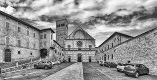 Panoramic exterior view of the medieval Cathedral of Assisi, Ita Stock Photo