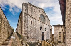 Panoramic exterior view of the medieval Cathedral of Gubbio, Ita Stock Image
