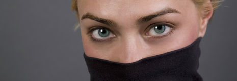 Panoramic eyes. Panoramic crop of captivating eyes on model Royalty Free Stock Photos