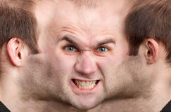 Panoramic face of angry man Stock Photo
