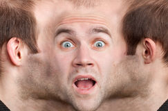 Panoramic face of frightened man Royalty Free Stock Photo