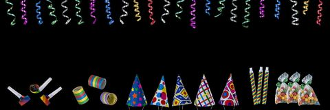 Panoramic festive image with rolls of curly ribbons hanging from top and multi party favors on the gound on black on the. Panoramic festive image with rolls of royalty free illustration