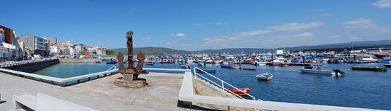 Panoramic Fisterra Harbour Royalty Free Stock Photos