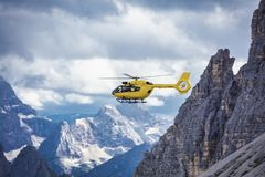 Panoramic flight over the mountains. Air transport. Stock Photo