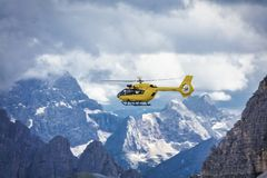 Panoramic flight over the mountains. Air transport. Royalty Free Stock Photos