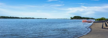 A Panoramic of the flooded Ohio River in the downtown area of Paducah Kentucky