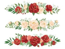 Panoramic flowers borders. Rose bud, flower border and roses header panorama floral banner vector illustration vector illustration