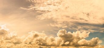 Panoramic fluffy clouds agent everning sky