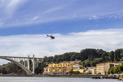 Panoramic fom Douro river tour boat, Porto cityscape, on summer Stock Photos