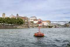 Panoramic fom Douro river tour boat, view of Dom Luiz Bridge Royalty Free Stock Images