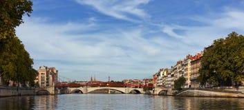 Panoramic footbridge Royalty Free Stock Images