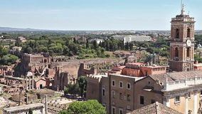 Panoramic Forum of Rome. Panoramic of Roman Forum, in Rome, Lazio, Italy. aerial view from overlook stock video footage