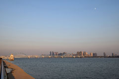 Panoramic Fourth Qiantang River Bridge Fuxing Bridge Stock Images