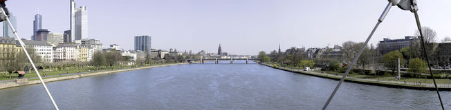 Panoramic frankfurt. Panoramic photo from one of the bridges in frankfurt Royalty Free Stock Image