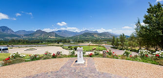 Panoramic Franschhoek Valley. A panoramic composite of the view of the Franschhoek valley from the porch of the Haute Cabriere wine estate stock photos