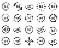 Panoramic 360 icons. Panoramic 360. Full 360 degree overview icons, panorama signs for vr and virtual video Royalty Free Stock Photos