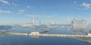 Panoramic futuristic city royalty free stock image