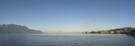 Panoramic Geneva lake Stock Image