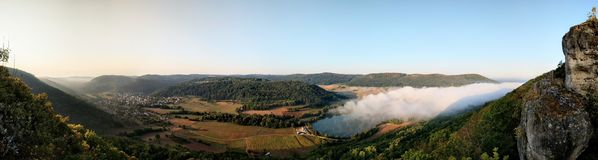 Panoramic of a german landscape at sunrise royalty free stock photo