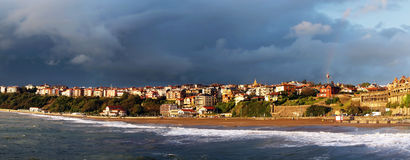 Panoramic of Getxo beach Royalty Free Stock Photo