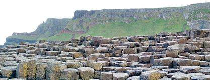 Panoramic of Giant`s Causeway stock photography