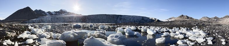Panoramic glacier in Trygghamna, Svalbard Stock Image