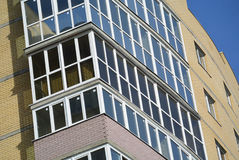 Panoramic glazing. In high building stock photography