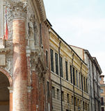 Panoramic glimpse of a Italian town of Roman origins with histor Stock Photography