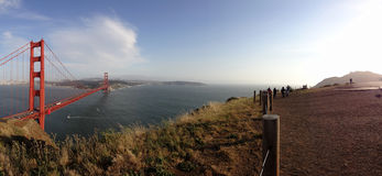 Panoramic of Golden Gate Bridge and San Francisco Cityscape Royalty Free Stock Images