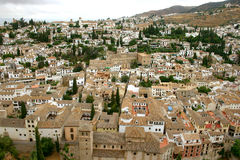 Panoramic Granada. Village of Albacín viewed from the top of the highest tower of the Alhambra in Granada (Spain - Andalusia Stock Image
