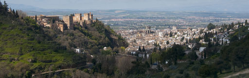 Panoramic of Granada and Alhambra. Granada, Spain Royalty Free Stock Images