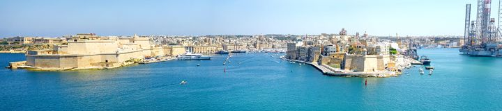 Free Panoramic Grand Harbour Of Valletta, Malta.  Panoramic Grand Harbour Of Valletta, Malta.  Medieval Forts With Bastions,  Three Cit Royalty Free Stock Photography - 153827867