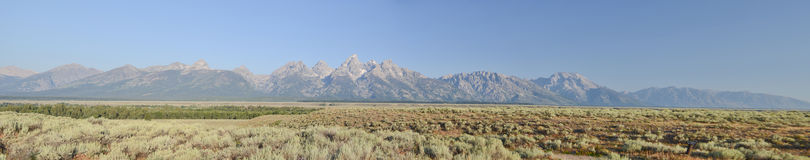 Panoramic Grand Teton National park. Grand Tetons national park, Wyoming ,USA Royalty Free Stock Photos