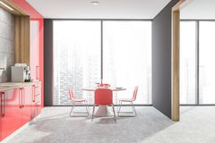 Panoramic gray kitchen with red countertops. Interior of panoramic kitchen with gray walls, concrete floor, red countertops and round dining table with chairs vector illustration