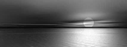 Panoramic gray sunset vector illustration