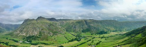 Panoramic of Great Langdale, Lake District, England Royalty Free Stock Image