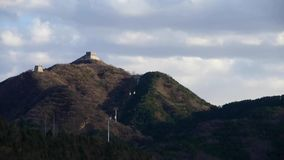 Panoramic of the Great Wall fortress hill mountains,China Chinese elements. stock video