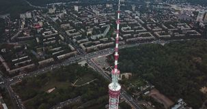 Cityscape with TV tower. Panoramic green cityscape with the TV Tower in Kyiv in Ukraine. Aerial video recording stock video footage